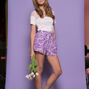 Womens Purple Printed Shorts with Pockets