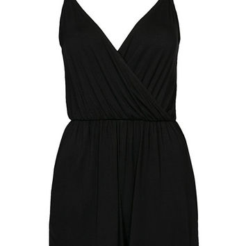 EC Jersey Wrap Strappy Playsuit, New Look