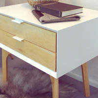 Side Table and Drawers - White Lacquer and Maple Legs