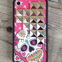 NEW Pink Sugar Skull Silver Pyramid iPhone 4/4s Case | wildflower cases