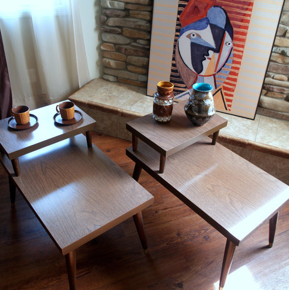 Retro Living Room Furniture Sets: ATOMIC END TABLES Vintage 50s Mid Century From ACES FINDS