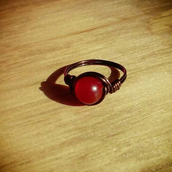 Red Malaysia Jade Valentine's Day Ring, Dark Brown Nontarnish Copper Wire Ring, Valentine Hippie Rings