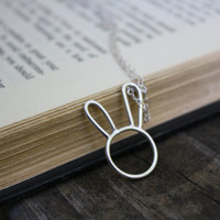 Argentium Bunny Pendant Necklace Super Cute Artisan Rabbit Pendant Necklace