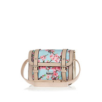River Island Girls blue floral print satchel bag