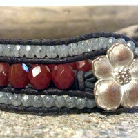 Dark Caramel Beaded Leather Cuff Bracelet, Beaded Leather Wrap Bracelet, PZW116