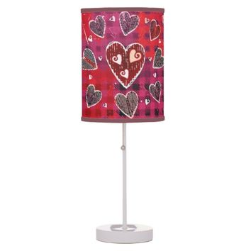 Valentine's Grungy Hearts Pattern Lamp