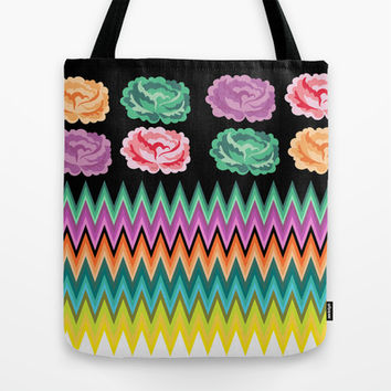 CHEVRON ROSES Tote Bag by Heaven7