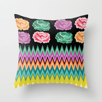 CHEVRON ROSES Throw Pillow by Heaven7