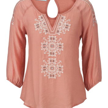 embroidered peasant top with sequins