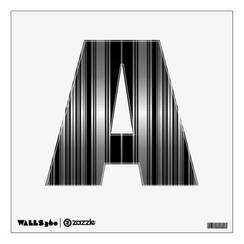 Alphabet Wall Sticker 12 x 12 inch (any letter or single digit number) with Sheen Stripe Pattern | Zazzle.com