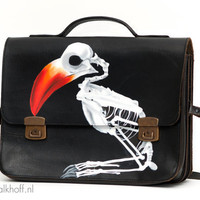 "Vintage office-bag ""Tropical Death"", heavy quality, hand-painted"