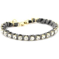 Ettika Gold Colored Rhinestone Chain and Grey Deerskin Leather Bracelet - designer shoes, handbags, jewelry, watches, and fashion accessories | endless.com