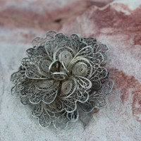 Delicate Silver Rose Filigree Brooch from Mexico