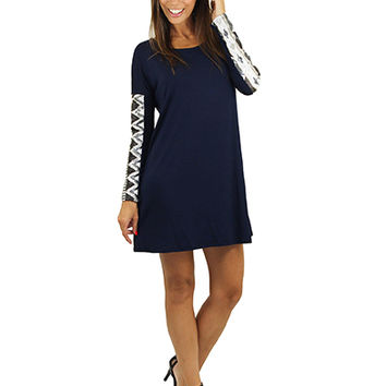 Navy Tunic Dress With Sequin Sleeves