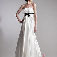 A-line Strapless Floor-length Taffeta Popular Prom Dress with Ruffles at Msdressy