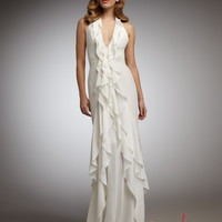 Sheath/Column V-neck Floor-length Elastic Woven Satin Zipper Prom Dress at Msdressy