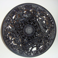 Vintage Ornate Cast Iron Pedestal Dish