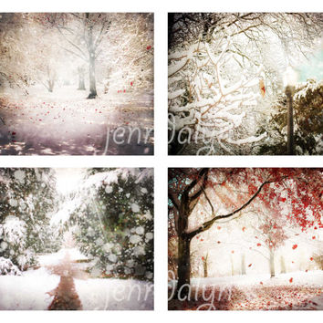 Narnia - four photo set, magical winter photography, chronicles of narnia decor, fairy tale wall art, surreal winter landscape photography