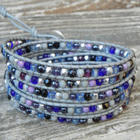 Beaded Leather 5 Wrap Bracelet with Gray Silver Black Purple and Blue Czech Glass Beads on Gray Leather