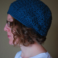 Hand Crochet Adult Slouch Hat Organic Cotton- The Cameron Slouch -Blue Jasper - Ready To Ship