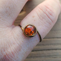 Adjustable Wire Wrapped Ring Bronze Glass Bead