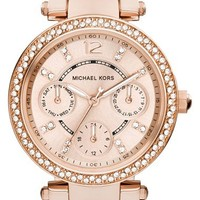 Women's Michael Kors 'Parker - Mini' Multifunction Watch, 33mm - Rose Gold/ Blush