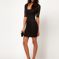 ASOS PETITE Half Sleeve Lace Dress at asos.com