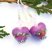 Purple Hearts Valentine Earrings Handmade Lampwork Swarovski Beaded