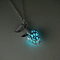 Glow in the dark poisoned apple necklace