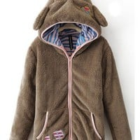 Brown Cute Bear Ear Zipper Autumn Winter Long Sleeve Korean Style Women Wool Coat XS/S/M/L/XL @WH0374br $33.99 only in eFexcity.com.