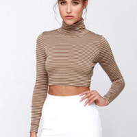 Trend-er's Game Brown Striped Long Sleeve Crop Top