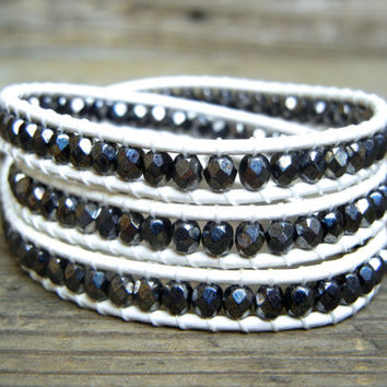 Beaded Leather Wrap Bracelet 3 or 4 Wrap with Hematite Gray Czech Glass Beads on White Leather Spring Summer
