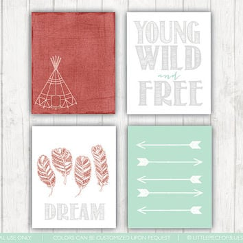 Young, Wild and Free Print_ 4 Set Prints_ TeePee_ Feathers_ Arrows_ Nursery Decor_ Nursery Room Prints_ Prints for the Home_ Mint and Gray