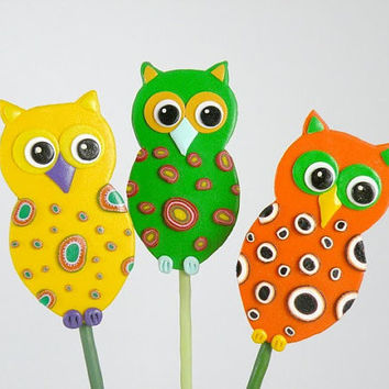 Owl Garden Stakes - Ornament, Table Decorations for Birthday or Shower, Yellow, Orange, Green set of 3