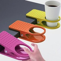 Amazon.com: New Home Office Drink Cup Coffee Holder Clip Desk Table By Buyinconis: Kitchen & Dining