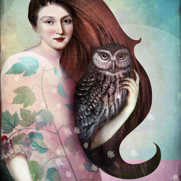 She and her Owl Art Print by Catrin Welz-Stein
