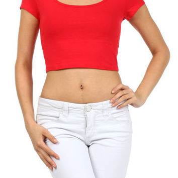 Sexy Solid Plain Scoop Neck Short Sleeve Basic Cropped Belly Tee Shirts Top