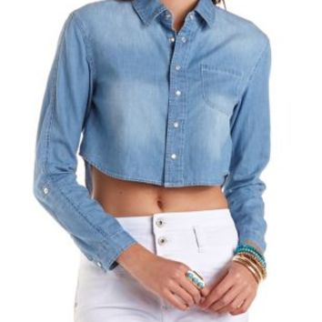 Cropped Chambray Button-Up Top by Charlotte Russe - Lt Blue Combo
