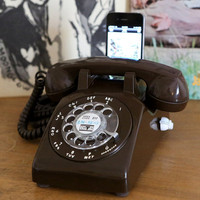 Vintage Chocolate Brown Rotary Phone iPod/iPhone stereo charger dock v.2.0