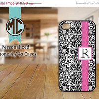 ON SALE iPhone 4 Case - iPhone case - Monogram iPhone case - Damask iPhone 4s case - iPhone cover - M073