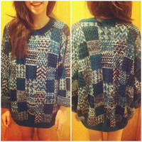 Green & Blue Vintage Ugly Sweater