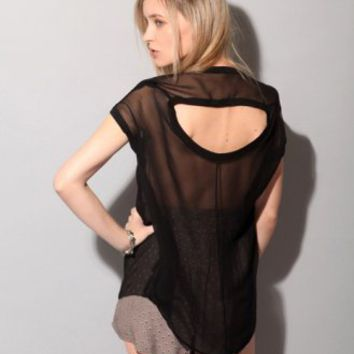 Black silk sheer top [Fun2944] - $85 : Pixie Market, Fashion-Super-Market