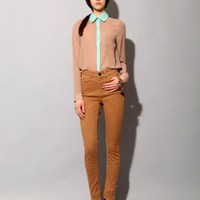 Tan and teal lace shirt SOLD OUT [Fea2966] - &amp;#36;89 : Pixie Market, Fashion-Super-Market