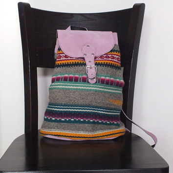 Ladies backpack - handwoven in Bulgaria - pink leather