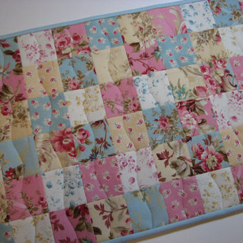 Quilted Table Runner--Rose and Blue Shabby Chic Patchwork, Lace Edging