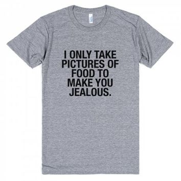 I Take Pictures of Food-Unisex Athletic Grey T-Shirt