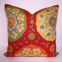 Decorative Suzani Pillow Cover in Cadmium Red 18x18 by Loubella1