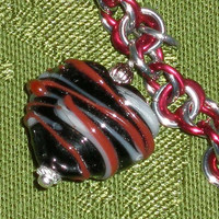 Lampwork Heart Charm Chainmaille Bracelet Black with Red and White Stripes