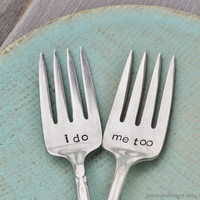 I do. Me too. Vintage Wedding Cake Fork Set Personalized with Your Wedding Date (Mismatched set)