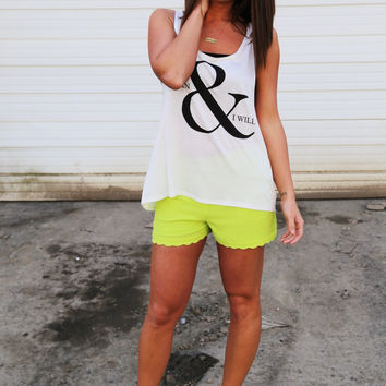 Scalloped Shorts {Lime Green}